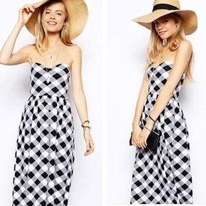 ASOS • Strapless checkered print midi dress